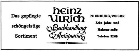 Heinz Ulrich Buchhandlung Antiquariat Anzeige im Strebergarten